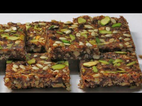 Healthy Dates & Nuts Energy Bar Recipe - Khajur Pak Recipe - Khajur Burfi Recipe - Winter Special