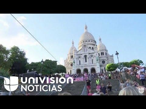 Espectacular ejercicio de equilibrismo sobre cuerda floja en París