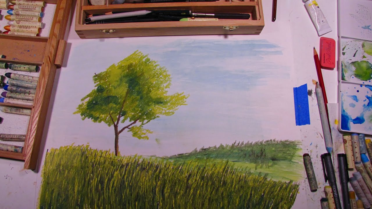 Rainbow landscape original oil pastel drawing - Rainbow Landscape Original Oil Pastel Drawing 37