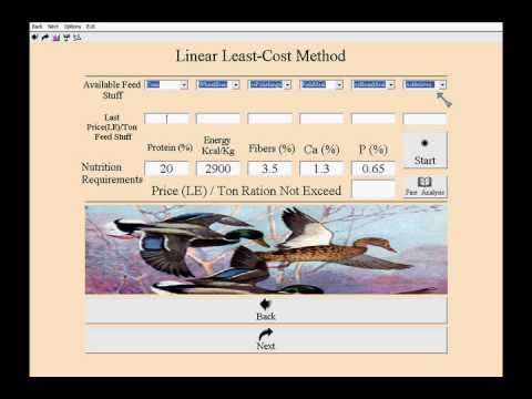 Animal Ration Formulation Program Video Dominestration