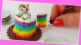 Unicorn cake / Miniature cooking / Mini Food  / Jenny's mini cooking show / 食べれるミニチュア