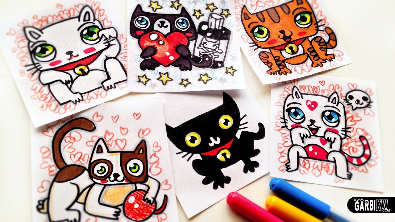 How To Draw Cute Cats Easy Drawings by Garbi KW - YouTube