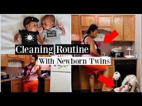 Cleaning Routine With Newborn Twins   Stay At Home Mom Of 4 Kids