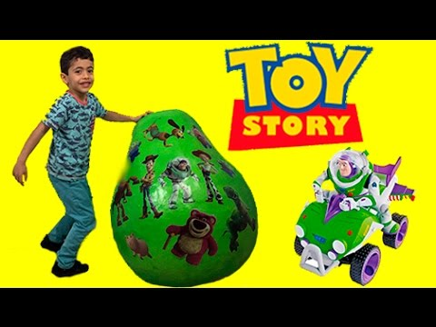 Toy Story GIANT Surprise Egg Opening! Unboxing Buzz Lightyear & Woody Toys | Kiddyzuzaa