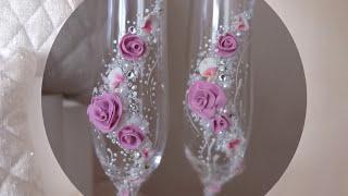 Нежные свадебные бокалы с розами/мастер класс/ свадебный DIY