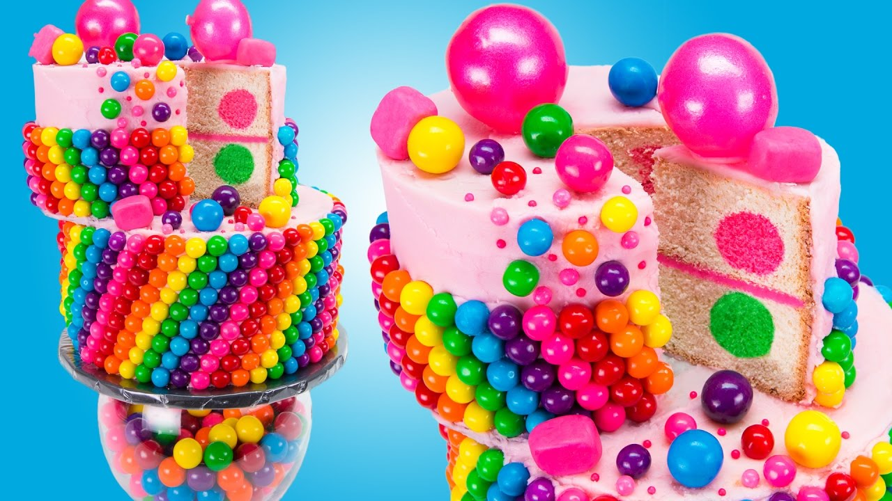 Wacky Rainbow Bubble Gum Cake Bubblegum Cake from Cookies Cupcakes