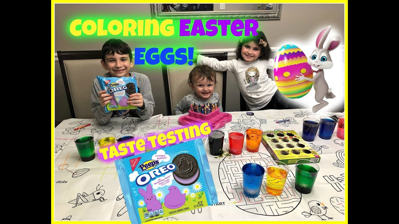 Coloring Easter Eggs 2018! Taste Testing NEW Peeps Oreo Cookies ...