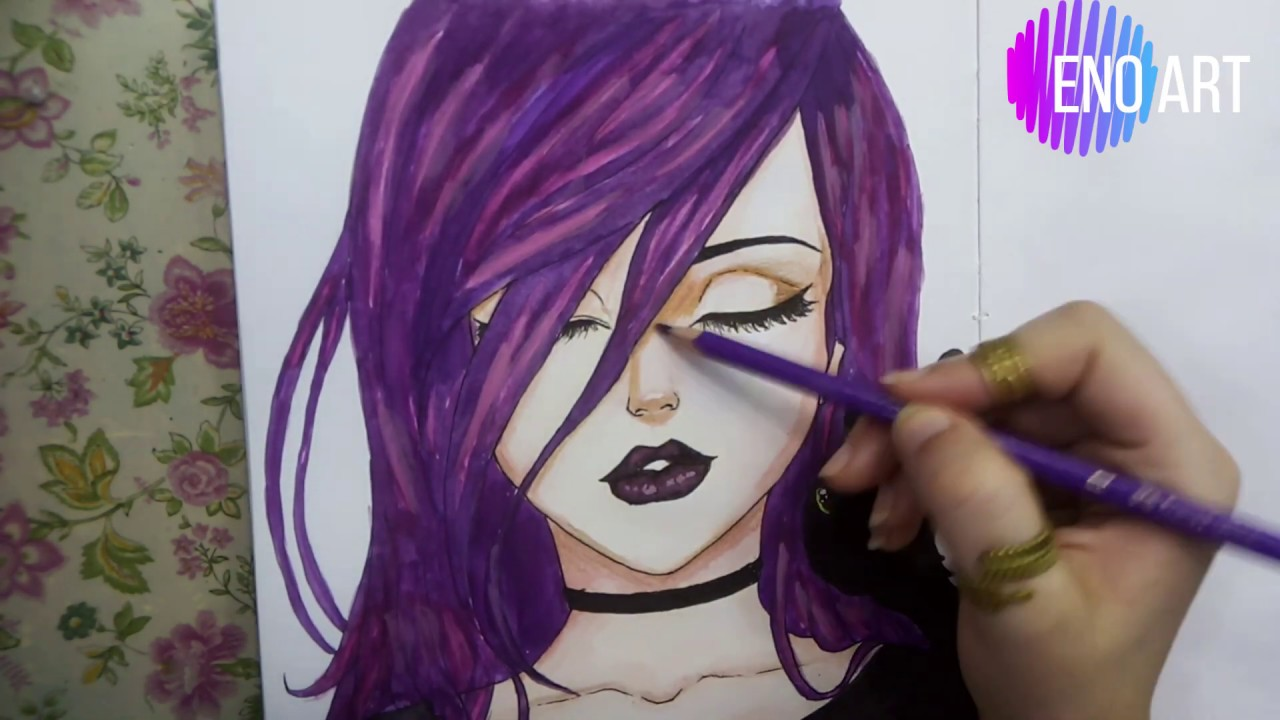 drawing anime girl with purple hair  step by step tutorial