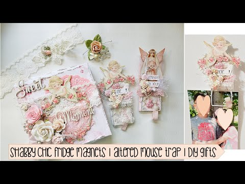 Shabby Chic Fridge Magnets   Altered mouse trap   DT Reneabouquets