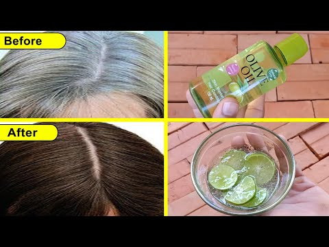 White Hair To Black Hair Naturally 60 Years Old Permanently   100% Works At Home