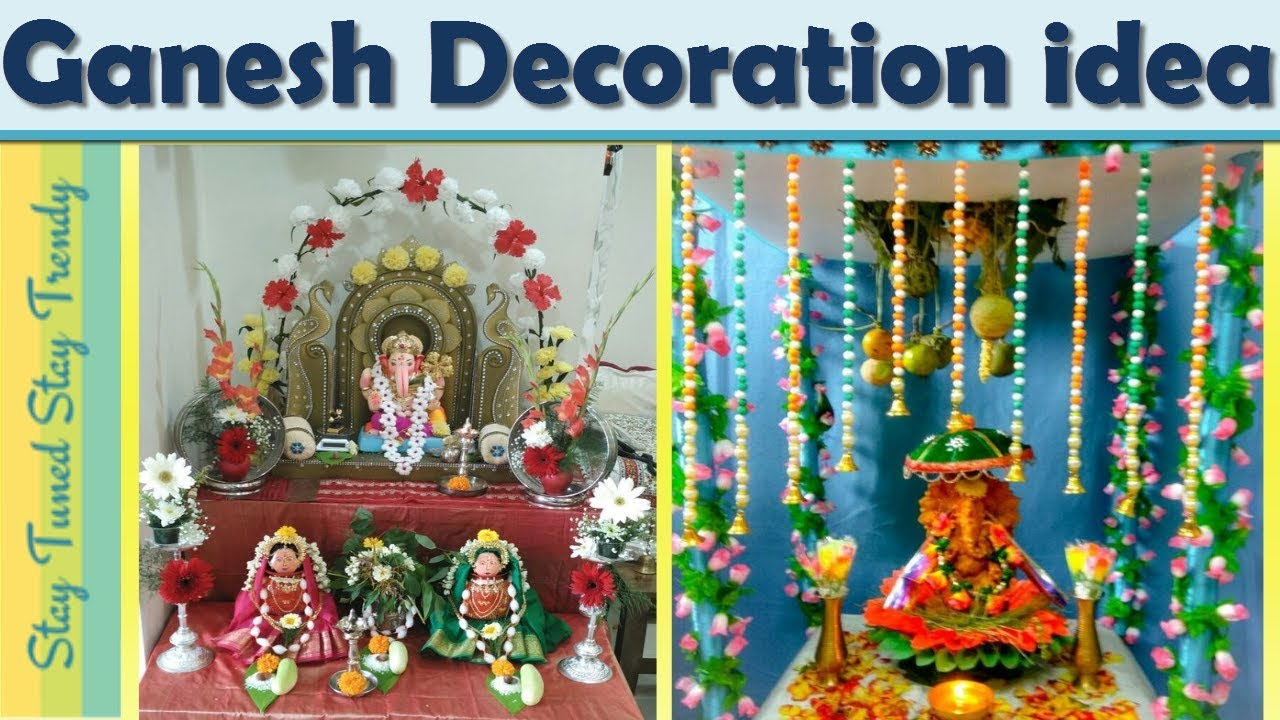 Simple/Easy Ganpati Decoration Ideas For Home | 2018 | Ganpati Decor |  #Ganeshchaturthi