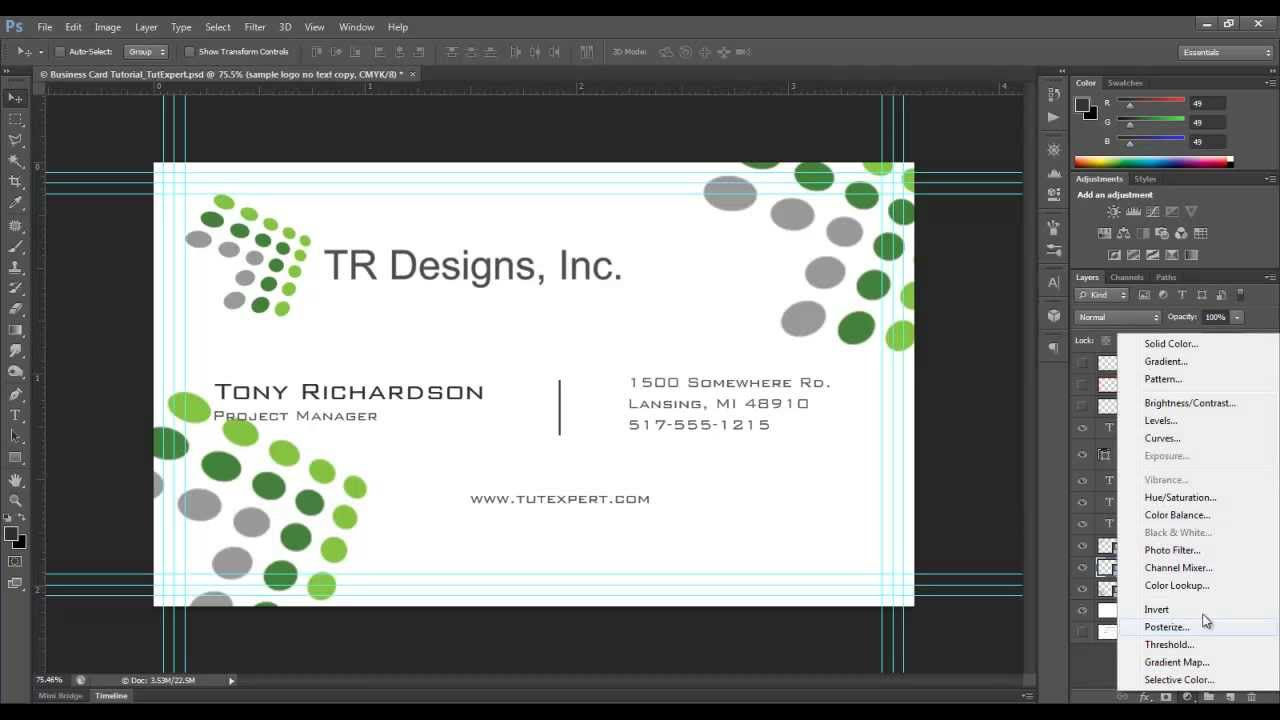 business card tutorial create your own photoshop youtube - Business Card Dimensions Photoshop