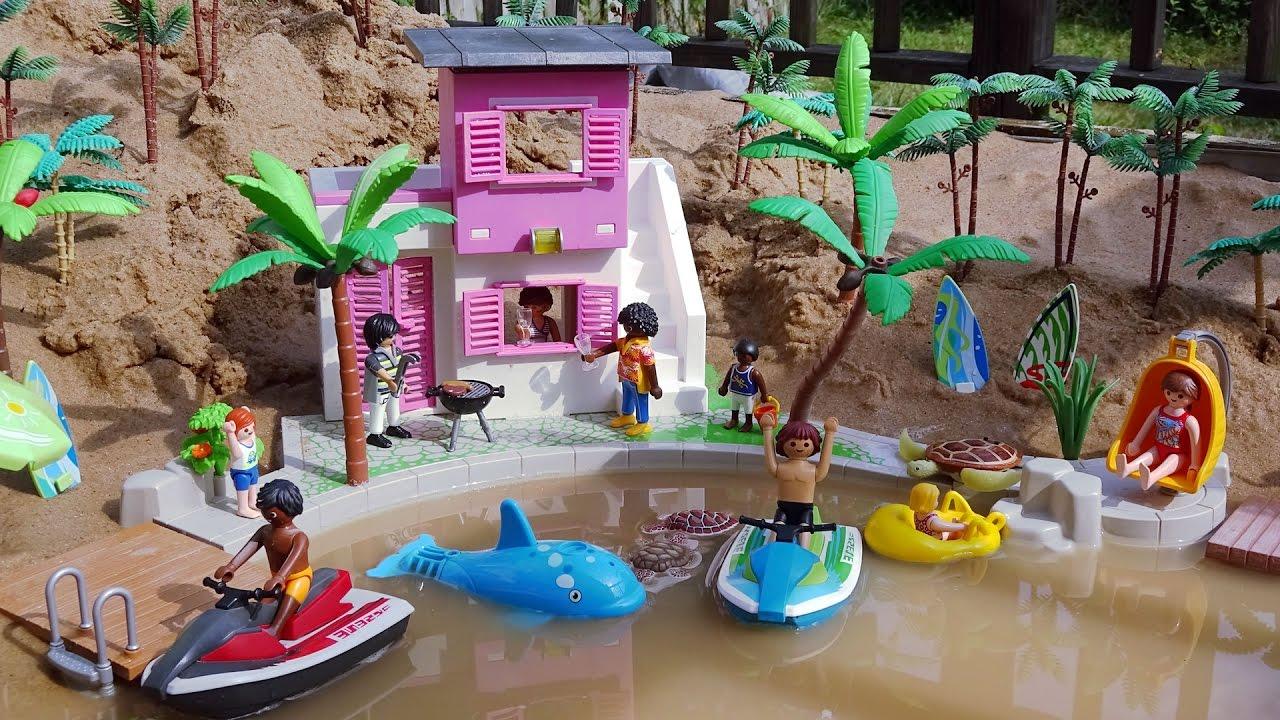 Playmobil City Life Beach House Building Playset And Sea