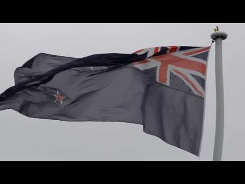 Large New Zealand flag at Auckland Airport