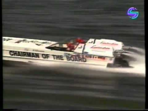 Chuck Norris and Kurt Russell driving in a powerboat race in 1990!!!!!