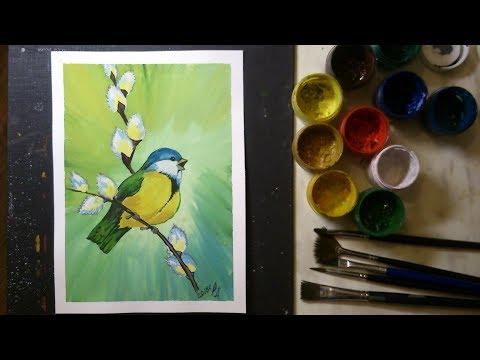 Как нарисовать птицу гуашью