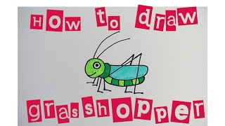 How to draw a cute grasshopper 如何畫可愛蚱蜢 Easy step by step