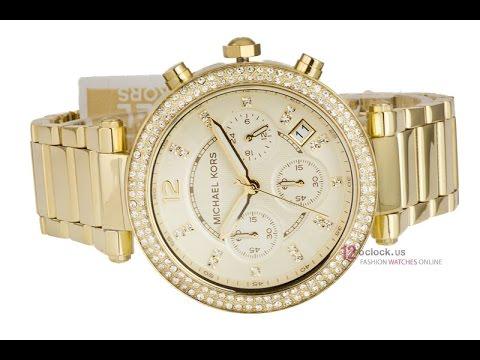 9c371d52eead MK5354 - Women s Chronograph Parker Gold Watch - YouTube