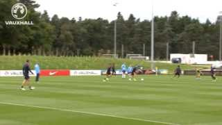 Everton's Ross Barkley scores a long range strike in England training