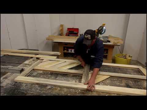 DIY Log Worx - Handcrafted Blue Pine Chevron Barn Doors - woodworking rustic log furniture shop