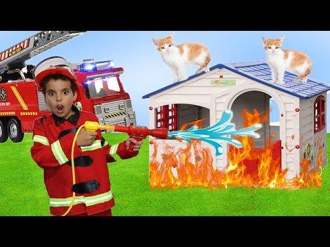 camión de bomberos de rueda motriz para niños. LES BOYS TV