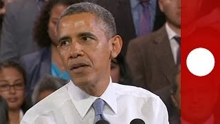 Panne bei Obama-Rede: Zwischenrufer unterbricht Präsidenten (Originalton)