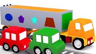 Развивающий мультфильм 4 машинки. геометрические фигуры для детей. 3D мультики