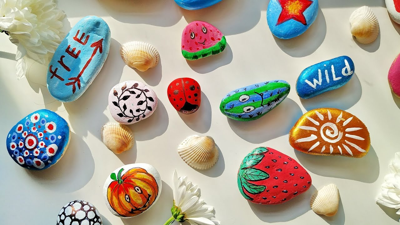 50+ Rock Painting Ideas - Stone Art For Summer Home and ... on Rock Decorating Ideas  id=60238