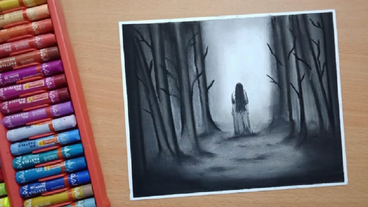 Scary Drawings - How To Draw Scary Ghost Scene with Oil ...