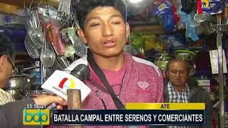 Ate: comerciantes se enfrentan violentamente con fiscalizadores y serenos