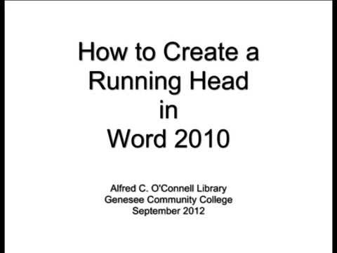 How to Create a Running Head in Word 2010 - YouTube - running title scientific paper
