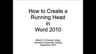 كيفية إنشاء تشغيل الرأس في Word 2010