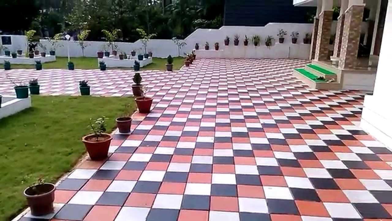 K c interlock paving tiles best in thrissur youtube for Exterior floor tiles design kerala
