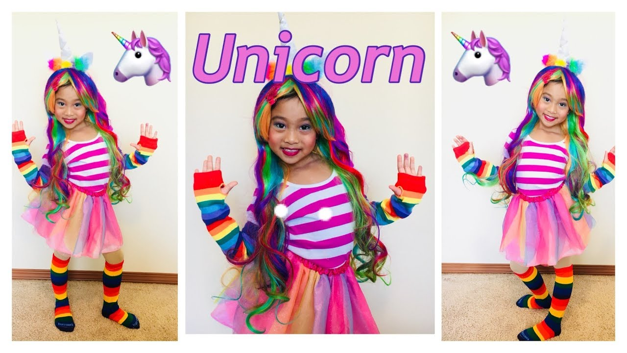 Unicorn Costume For Kids Unicorn Rainbow Hair And Unicorn Makeup