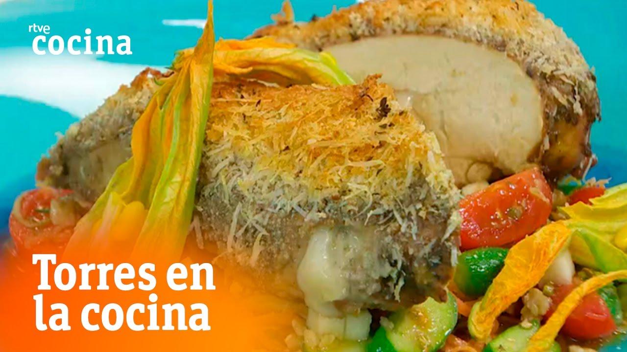 Pollo con costra relleno de parmesano torres en la for Torres en la cocina youtube