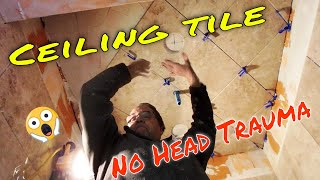 Tiling your shower ceiling here's how.  No it won't fall on your head!