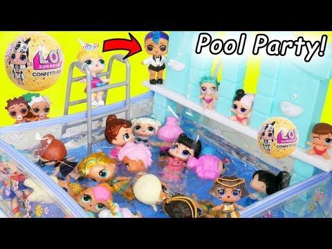 Punk Boi LOL Surprise New Shopkins Pool House and Wedding with JOJO SIWA Get Married Lil Brother