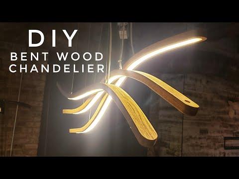 DIY LED Pendant Lamp / Chandelier | steam bending wood | #rocklerbentwoodchallenge