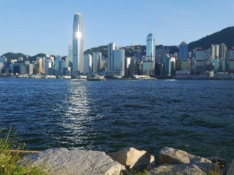 Hong Kong Island Filmed From West Kowloon Waterfront Promenade Part 1