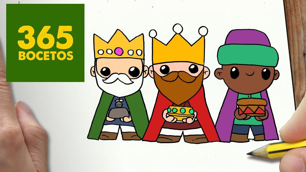 Como Dibujar Reyes Magos Para Navidad Paso A Paso Dibujos Kawaii