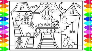 HAPPY HALLOWEEN 🧡🖤 How to Draw a Halloween House with Halloween Characters for Kids 🎃👻🕷💜💚🖤