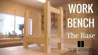 Part 1/2 of my Half-split-top Roubo style workbench! In this video I am making the base, with a shelf. Wood used in this video:
