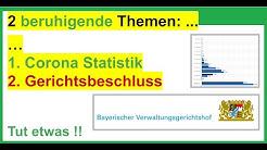 1. Corona-Statistik. 2. Gerichtsbeschluss in Bayern: KEIN nennenswerter Anstieg. Siehe Beschreibung!