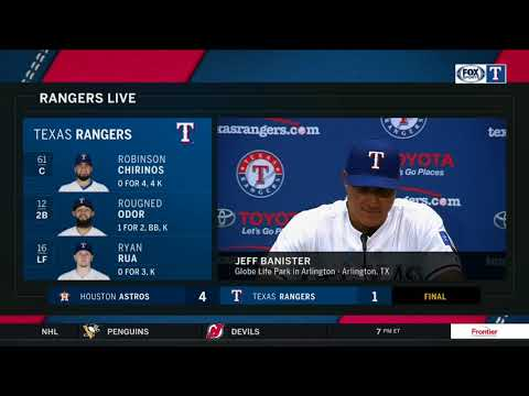 Jeff Banister reacts following Texas Rangers' Opening Day loss to Houston Astros