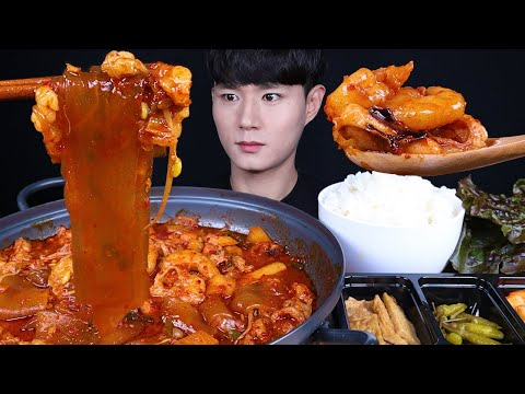 낙지 대창 새우 낙곱새 먹방ASMR MUKBANG Octopus & Pork Intestines &Prawns Stew Jeongol タコ 豚内蔵 エビ 鍋 eating sounds