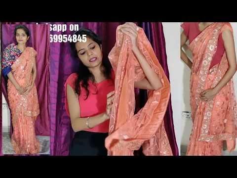 Buy Peach Saree online 😍..Final Look n See Fabric n Blouse details!!