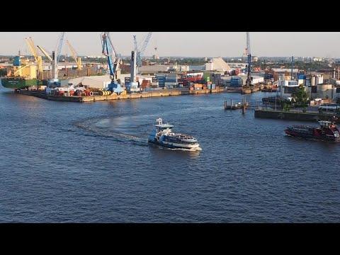 Boats In Port Of Hamburg Stock Video