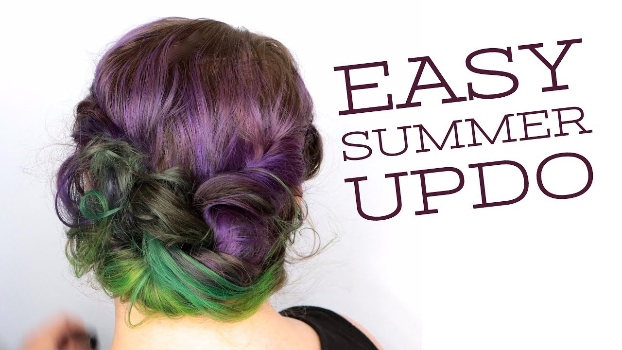 DIY EASY SUMMER UP-DO HAIRSTYLE + Heatless Curls for Fine Hair ...