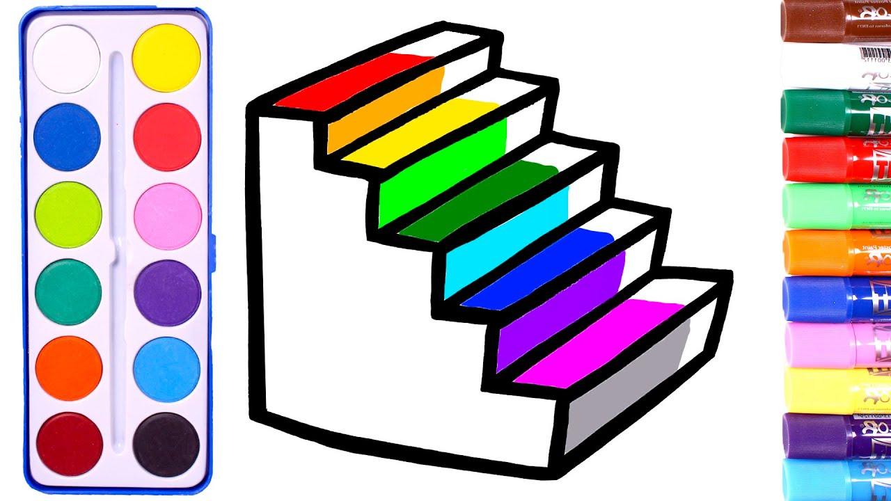 Dibuja y Colorea ESCALONES de colores 🌈🎨 Cómo dibujar