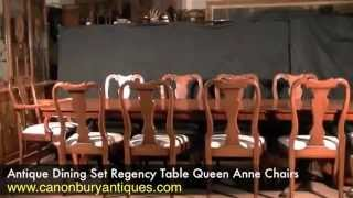 Antique Dining Set Regency Table Queen Anne Chairs